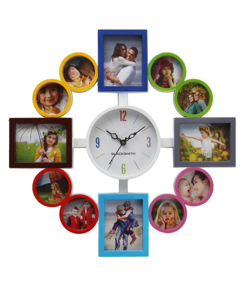 Blacksmith Multicoloured Plastic Wall Clock With Photo Frame Buy