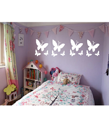 Shri Ganesh Sales Corp. Butterfly PVC White Wall Sticker - Pack Of 1