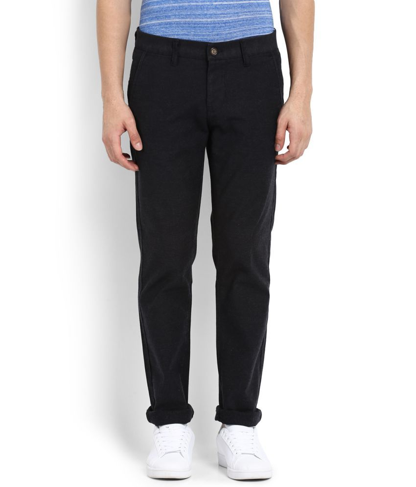 Integriti Black Slim -Fit Flat Trousers