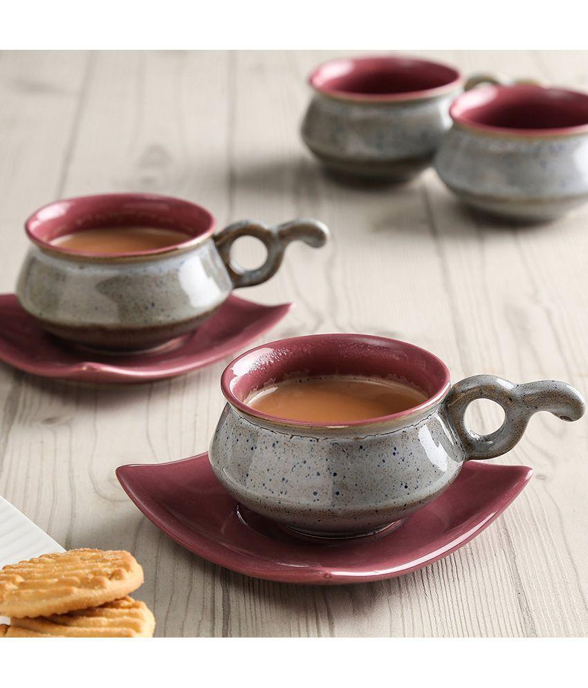 Unravel India Ceramic Matt Cup Saucer (Set of 6)