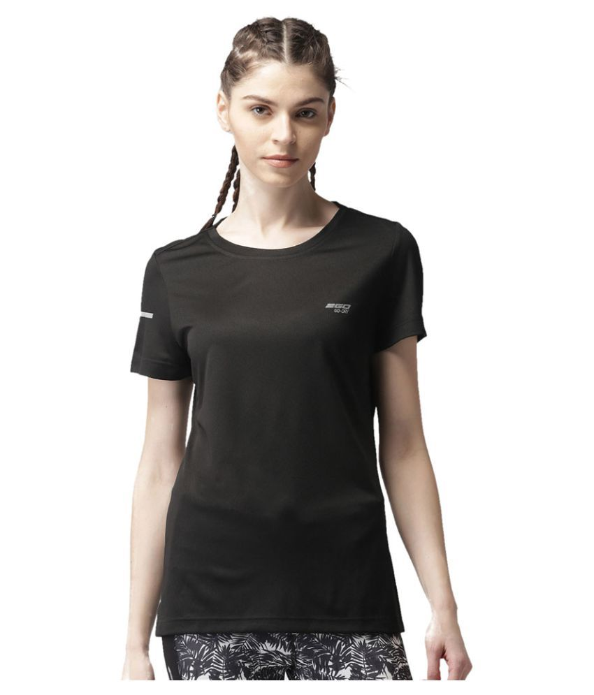 2GO Bold Black Round neck half sleeves T-shirt
