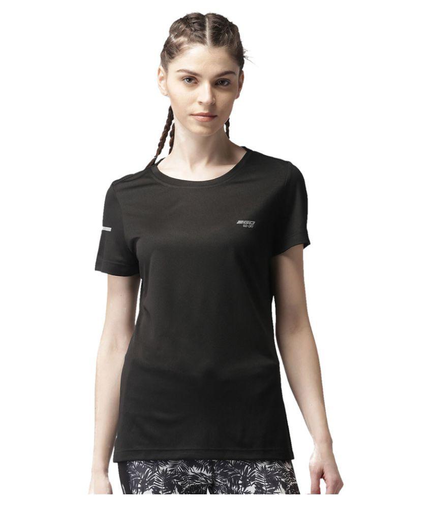 2GO Bold Black Round neck half sleeves T-shirt