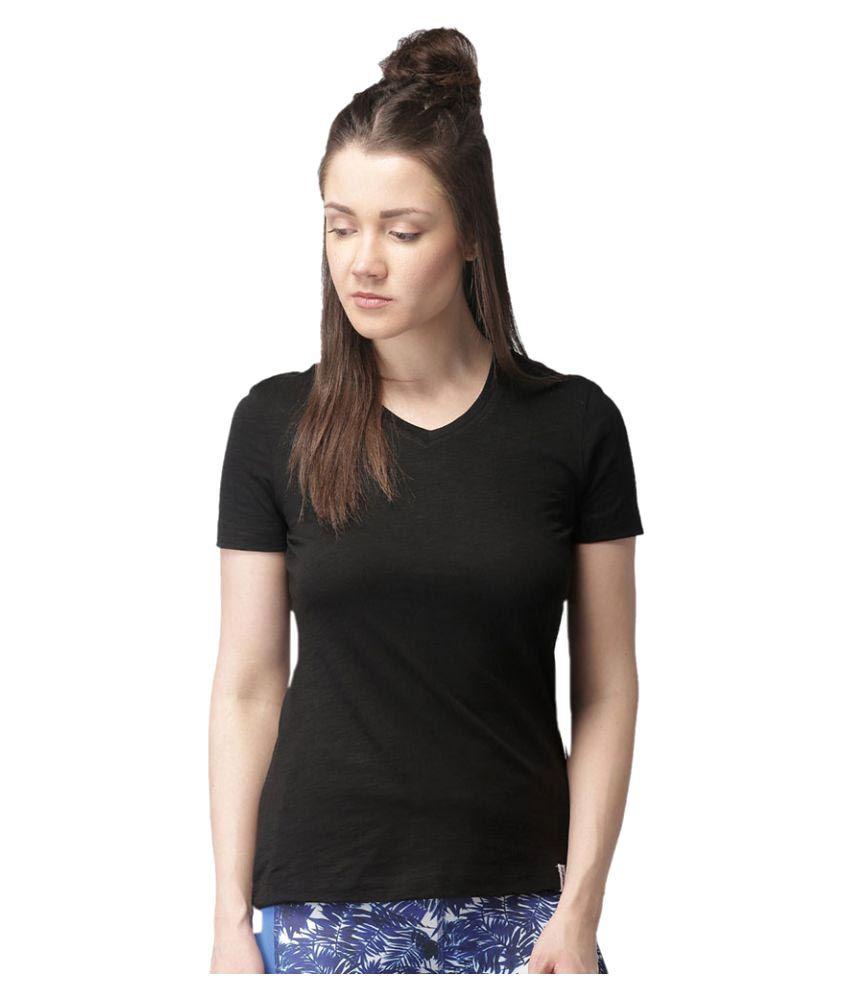 2GO Bold Black V-neck Half sleeves T-shirt