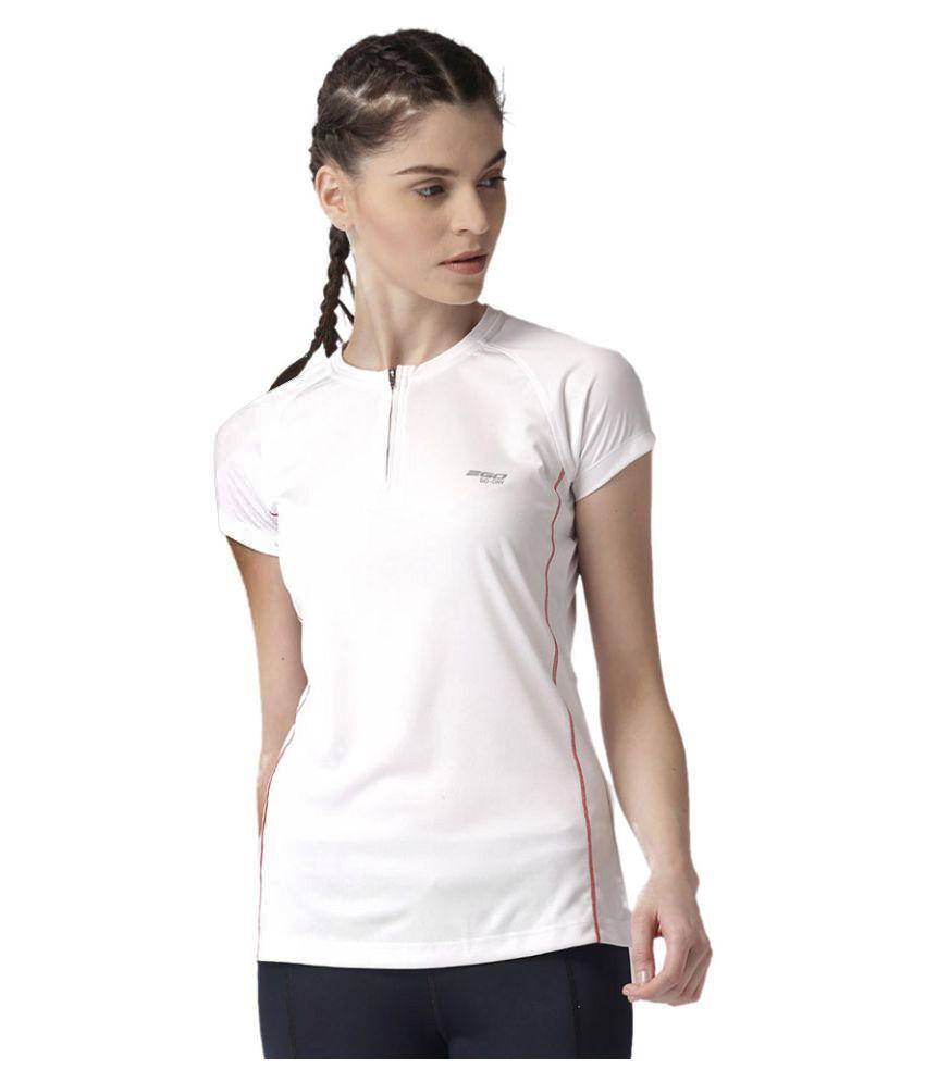 2GO Pace White Round neck Half sleeves T-shirt