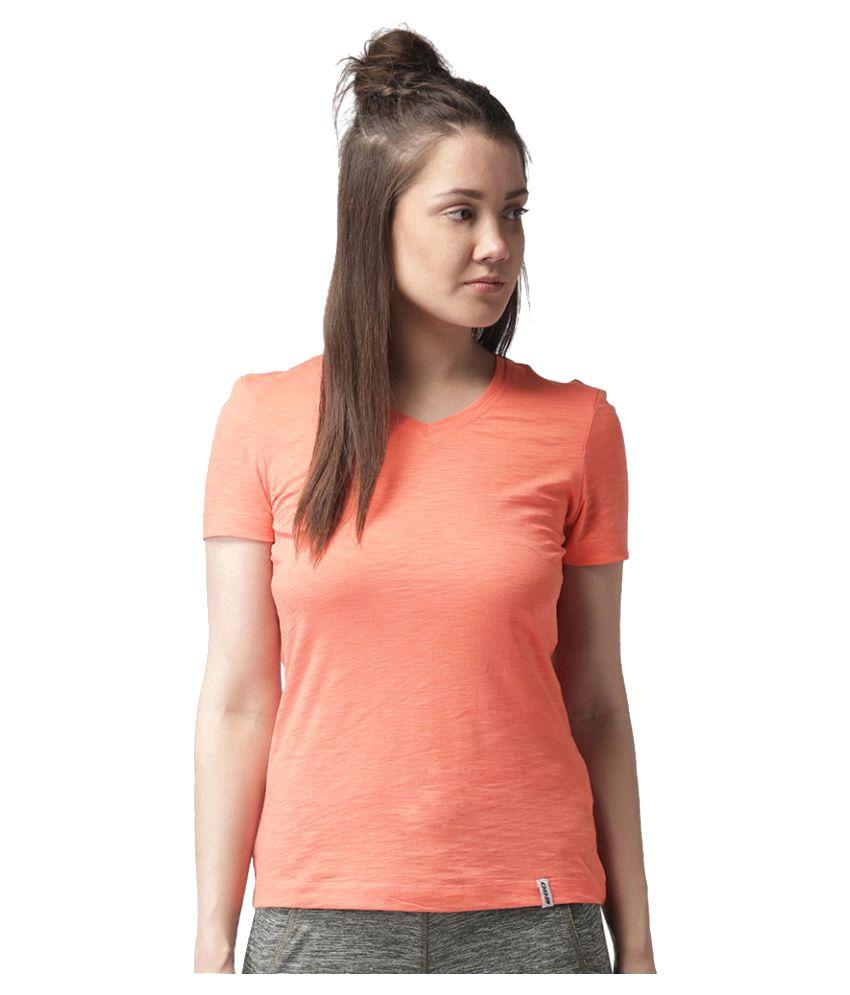 2GO Peach V-neck Half sleeves T-shirt