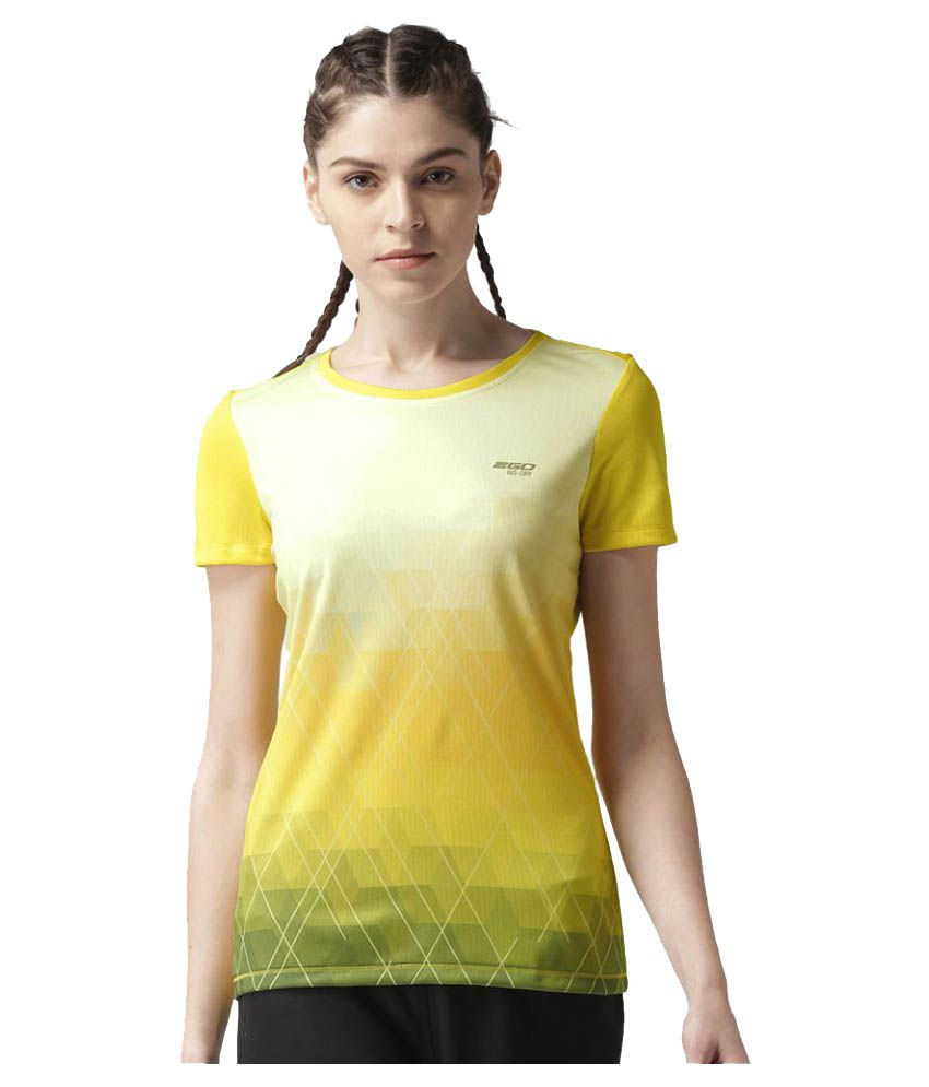 2GO Spring Yellow Print Round neck Short sleeves T-shirt