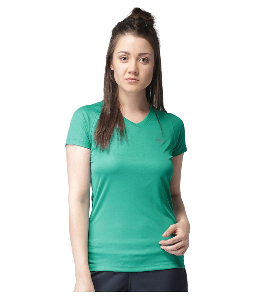 2GO Turquoise V-neck Half sleeves  T-shirt