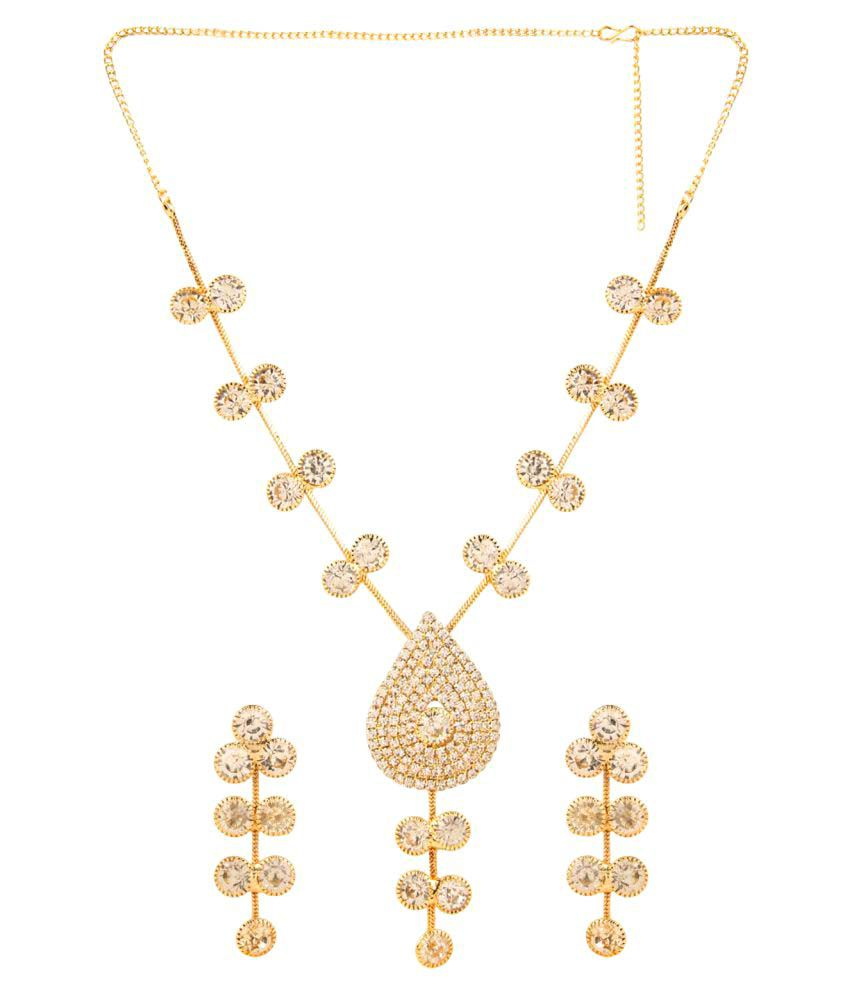 Archi Collection Designer Gold Plated White Crystal Traditional Necklace Set with Dangler Earrings for Women