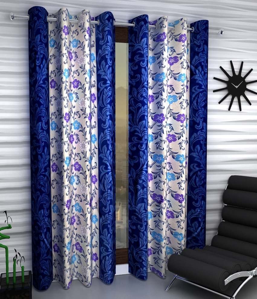 Home Sizzler Set of 2 Door Eyelet Curtains