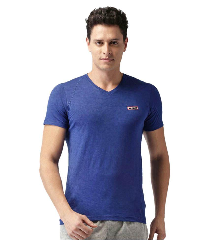2GO Electric Blue V-neck half sleeves T-shirt