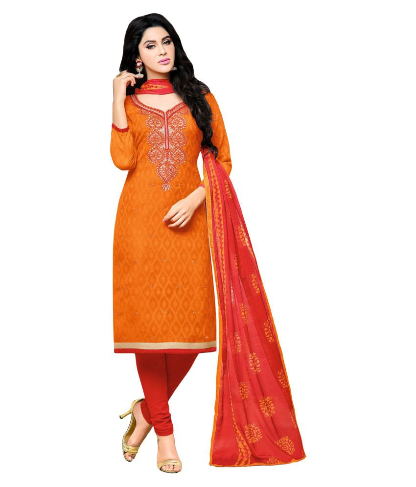 Apple Creation Red and Orange Jacquard Dress Material