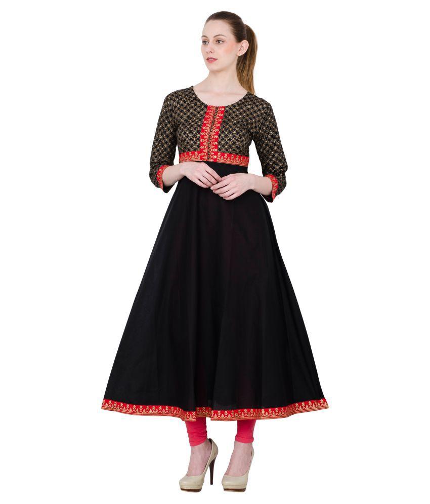 Zoeyam's Black Cotton Anarkali Kurti