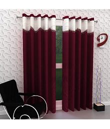 Tanishka Fabs Set of 2 Door Eyelet Curtains Solid Maroon