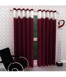 Tanishka Fabs Set of 2 Door Eyelet Curtains Solid Maroon
