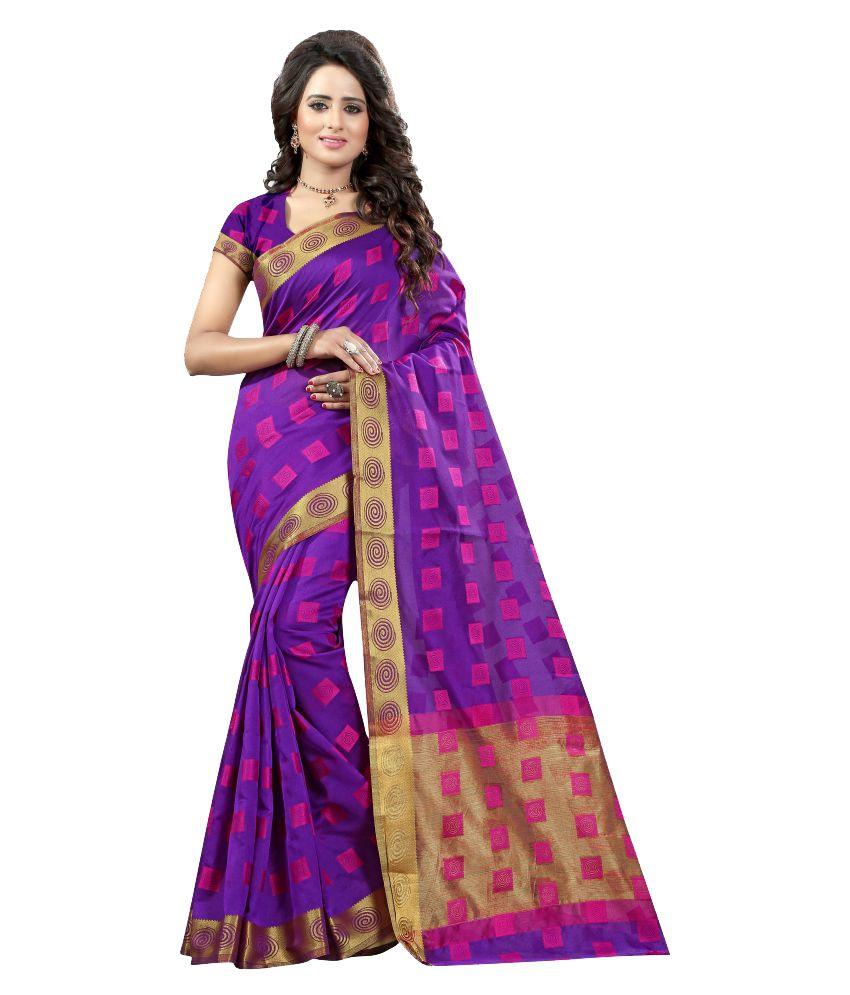 Ladie Silk Purple Cotton Silk Saree