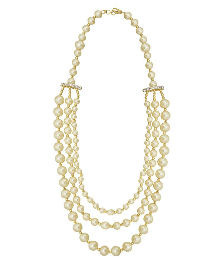Shining Jewel Handcrafted 3 Row Layered Champagne Pearl Necklace (SJ_2203)