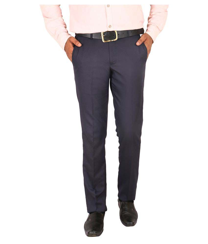 Matalino Navy Blue Slim -Fit Flat Trousers