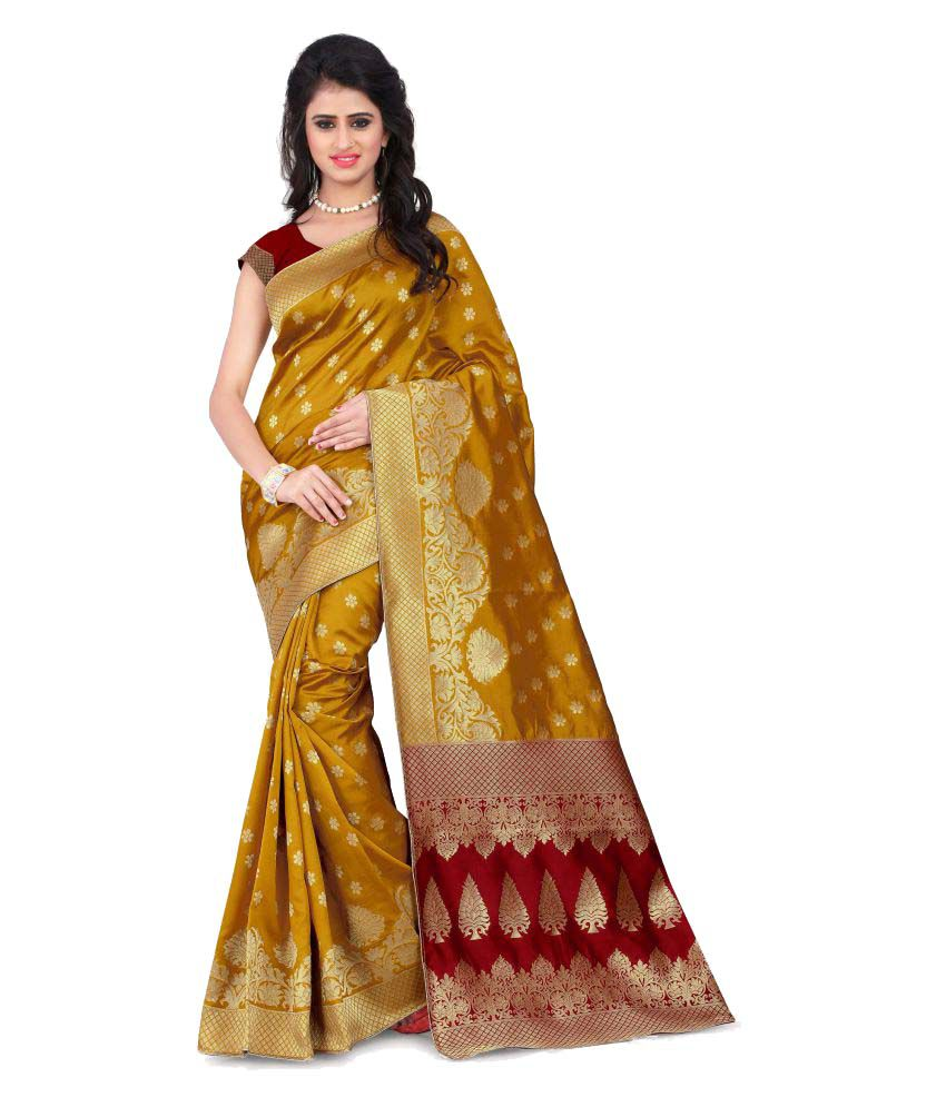Wedding Villa Yellow Banarasi Silk Saree