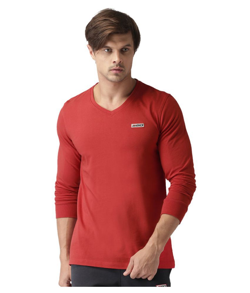 2GO Cardio Red Full sleeves V-Neck T-shirt