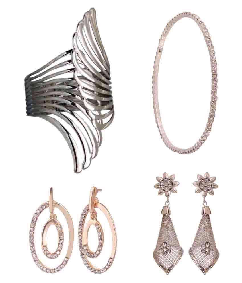 Archi Collection Combo of Stylish Trendy Fashion Bracelets and Earrings for Girls and Women