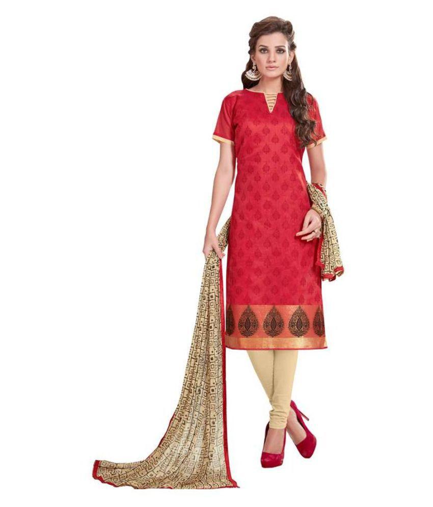 Kumaran Silks Red Cotton Dress Material