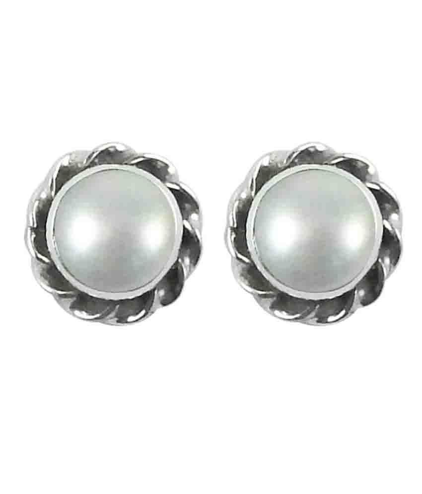 Miska Silver 92.5 Silver Pearl Studs