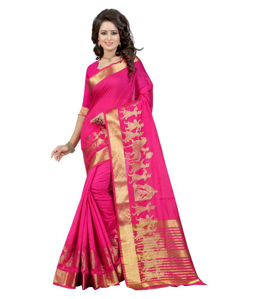 Vishwas Enterprise Red and Pink Banarasi Silk Saree