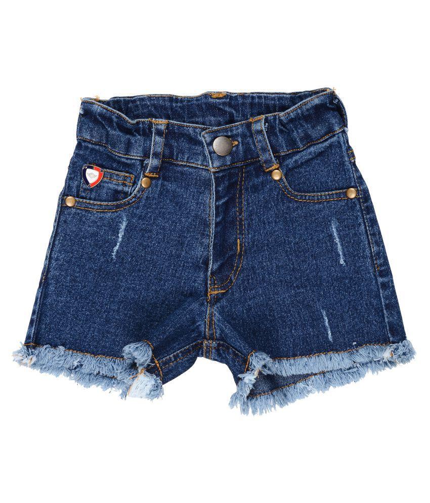 Girls Denim Shorts with Damaging & Fringing Effect