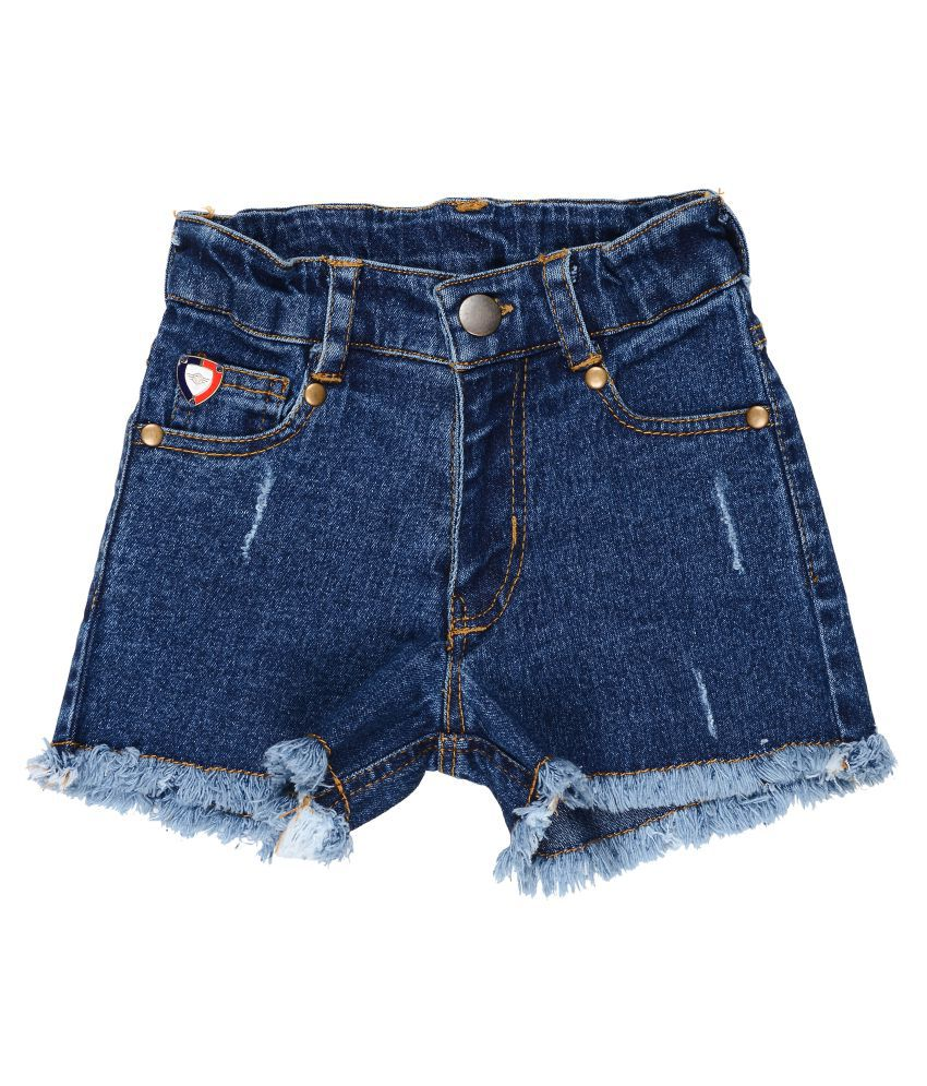 Girls Denim Shorts with Damaging & Fringing Effect