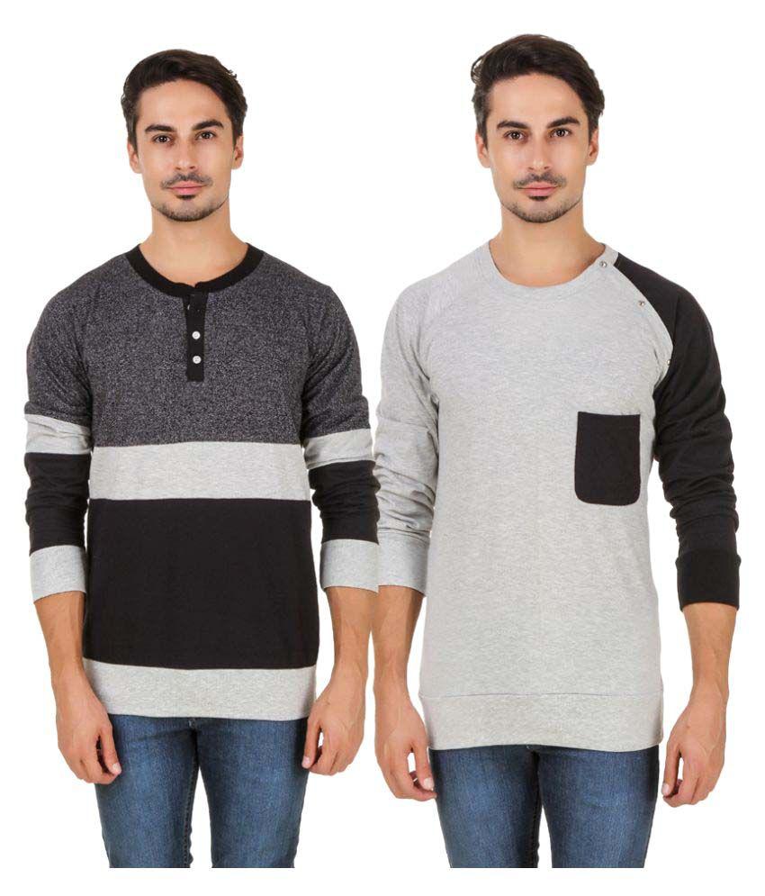 Aurelio Marco Multi Henley T-Shirt Pack of 2