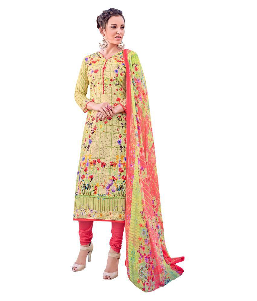 Viva N Diva Green Cotton Dress Material