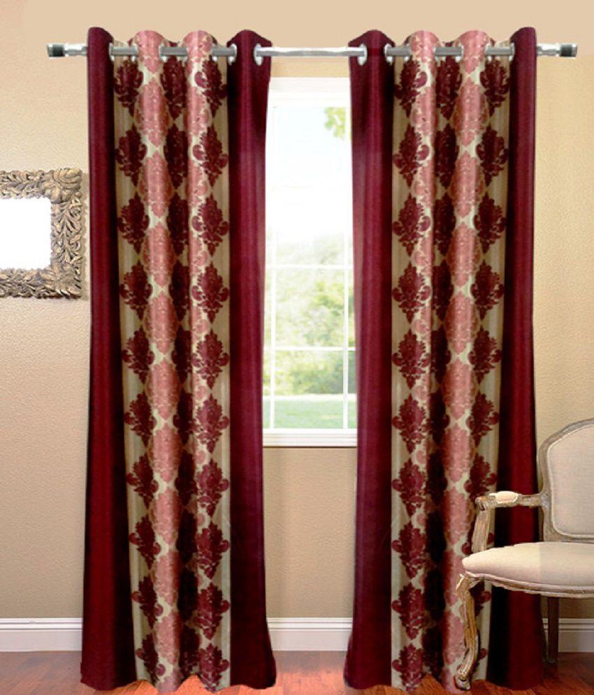 Homefab India Set of 2 Long Door Eyelet Curtains Maroon