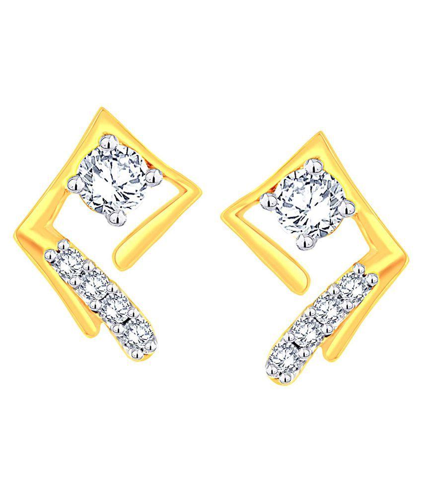 Glitterati 18k BIS Hallmarked Yellow Gold Diamond Studs