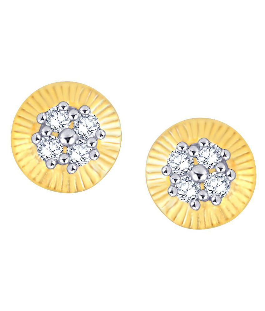Glitterati 18k BIS Hallmarked Yellow Gold Diamond Studs