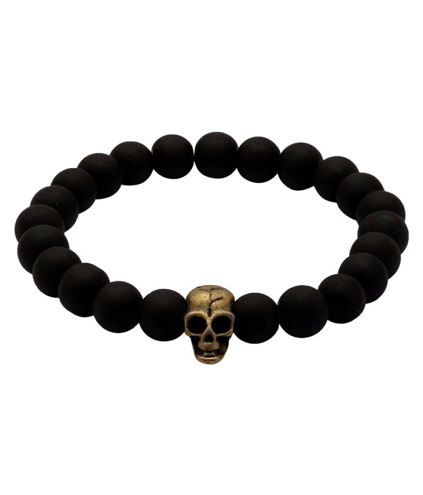 Dare Black Bead and Antique Gold Plated Men's Bracelet For Men