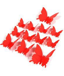 Jaamso Royals Red Butterfly PVC Red Wall Sticker - Pack Of 1