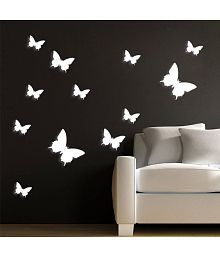 Jaamso Royals White Butterfly PVC White Wall Sticker - Pack Of 1
