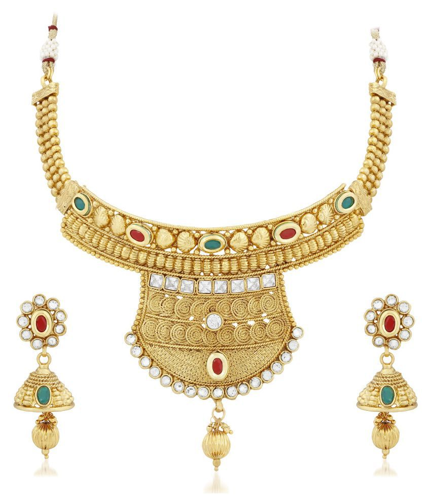 PALASH BEUTIFULL HANDCRAFTED NECKLACE SET WITH MULTI COLOUR STONES, AUSTIAN DIMOND