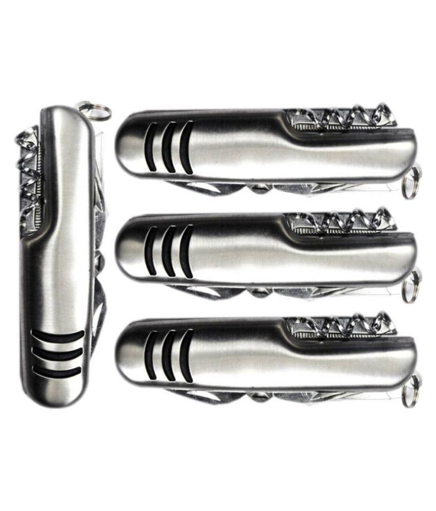 Jeeya 11 Function Multi Utility Swiss Knife  Silver  Pack of 4