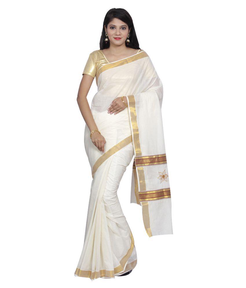Fashionkiosks Off White Cotton Saree