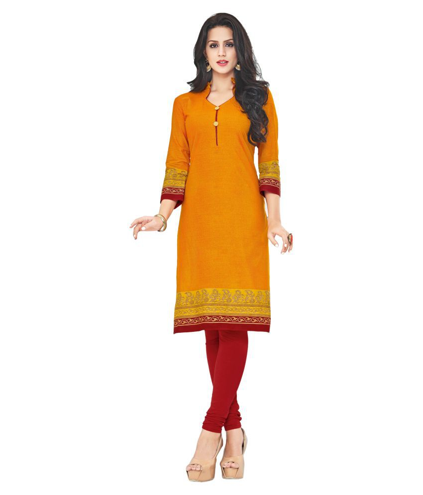 Parchayee Yellow Cotton Straight Kurti
