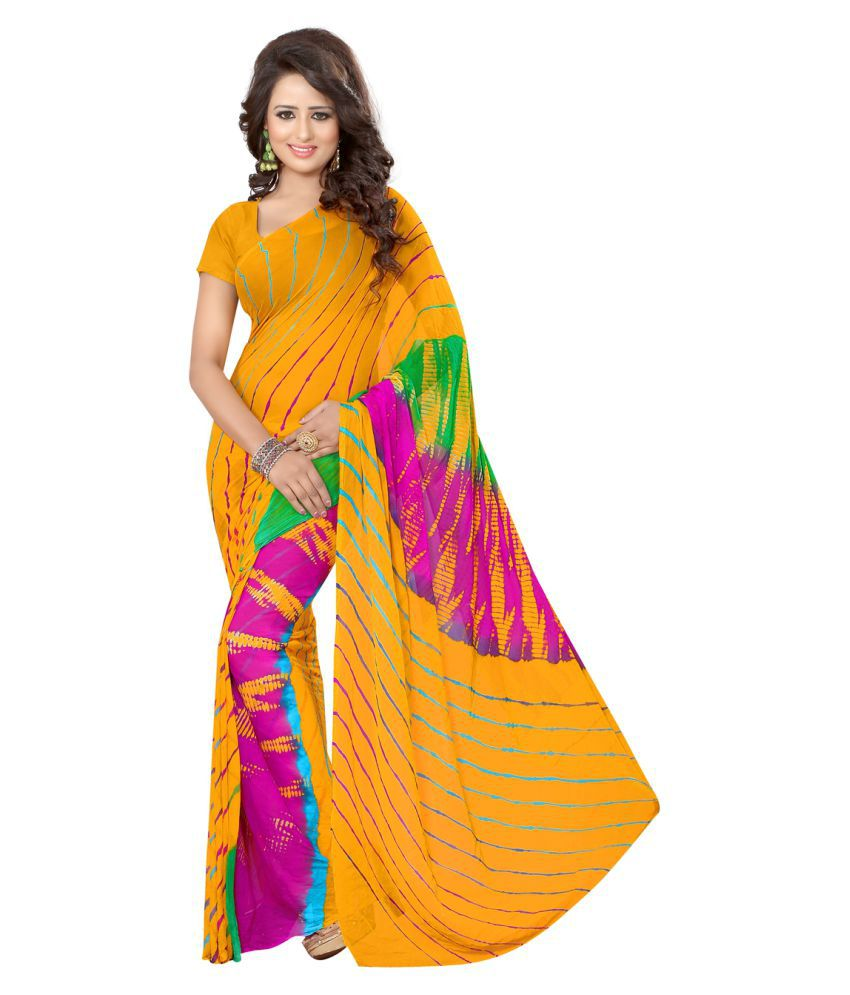 Divine International Trading Co. Yellow Georgette Saree