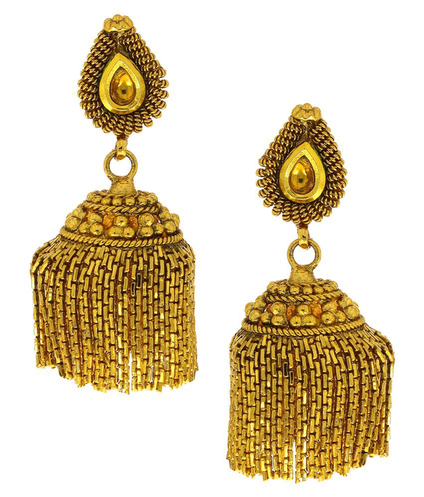 Anuradha Art Golden Colour Simple Stylish Designer Jhumki Styled Traditinal Earrings For Women/Girls