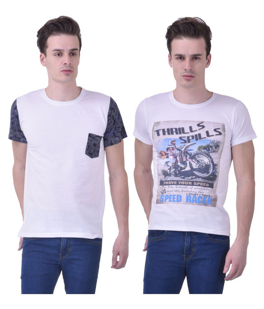 Chakkor White Round T-Shirt Pack of 2