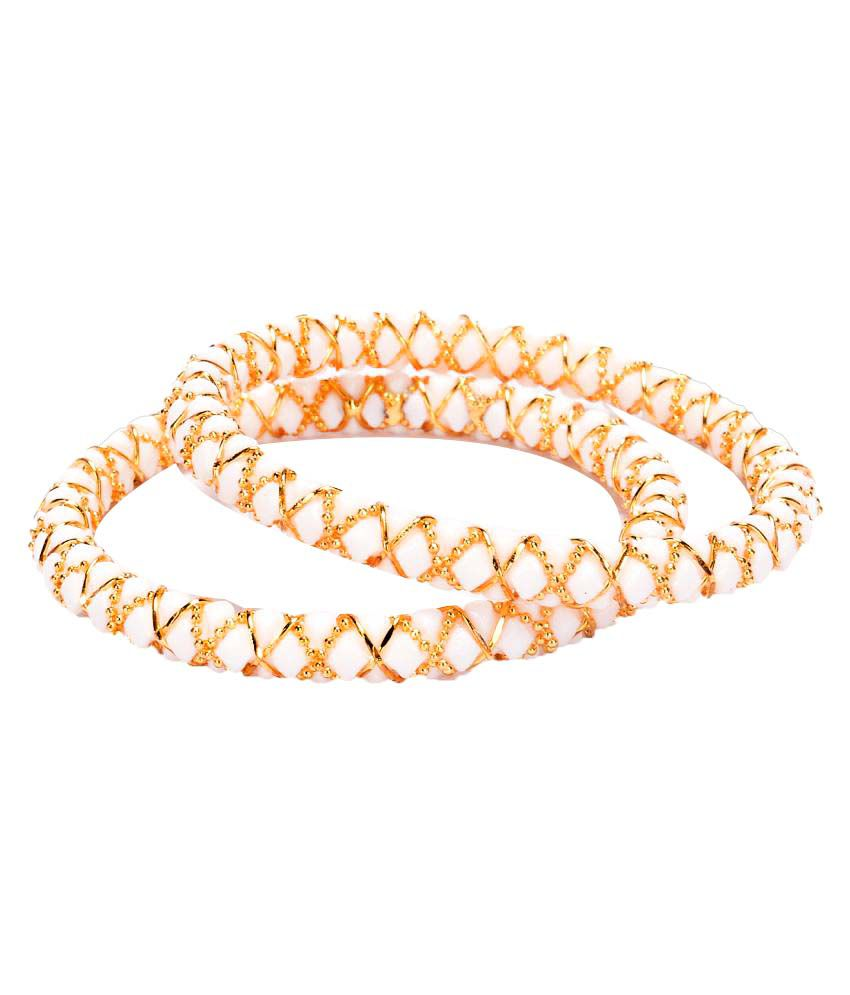 Manikya City Gold Shakha White Colored Copper With 24 Carat Micro Gold Plated Guaranteed Pair Of Bangles (Size 2.6)