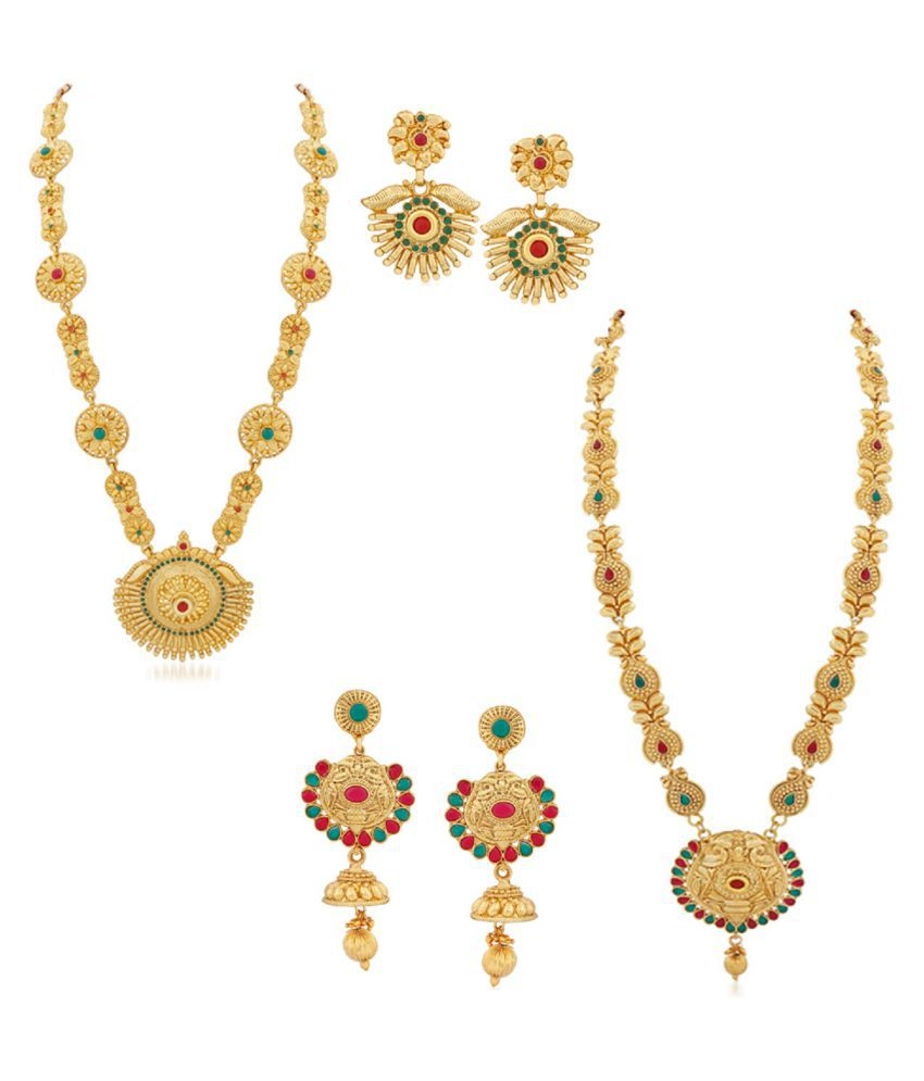 PALASH ETHNIC DESIGNER GOLD PLATED COMBO OF LONG HARAM NEACKLACE SETS FOR WOMENS