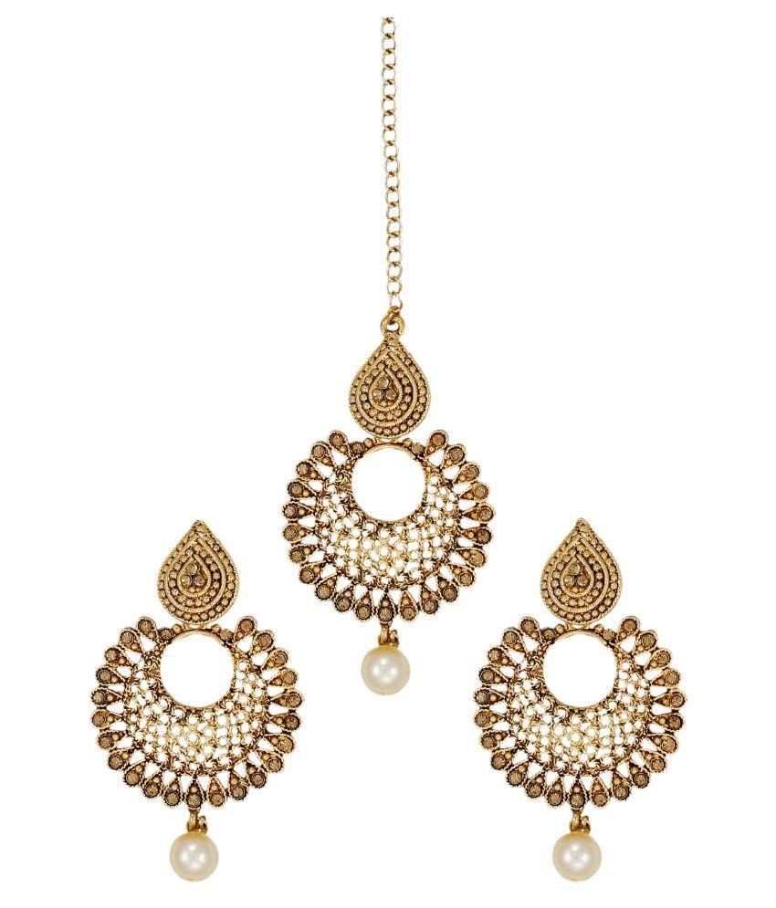 Zaveri Pearls Ethnic Chandbali Earring With Maang Tikka - ZPFK6088 ...