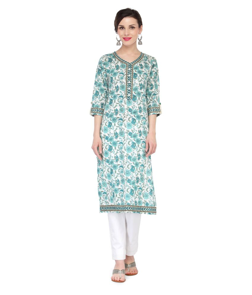 Inhabit Multicoloured Cotton Straight Kurti