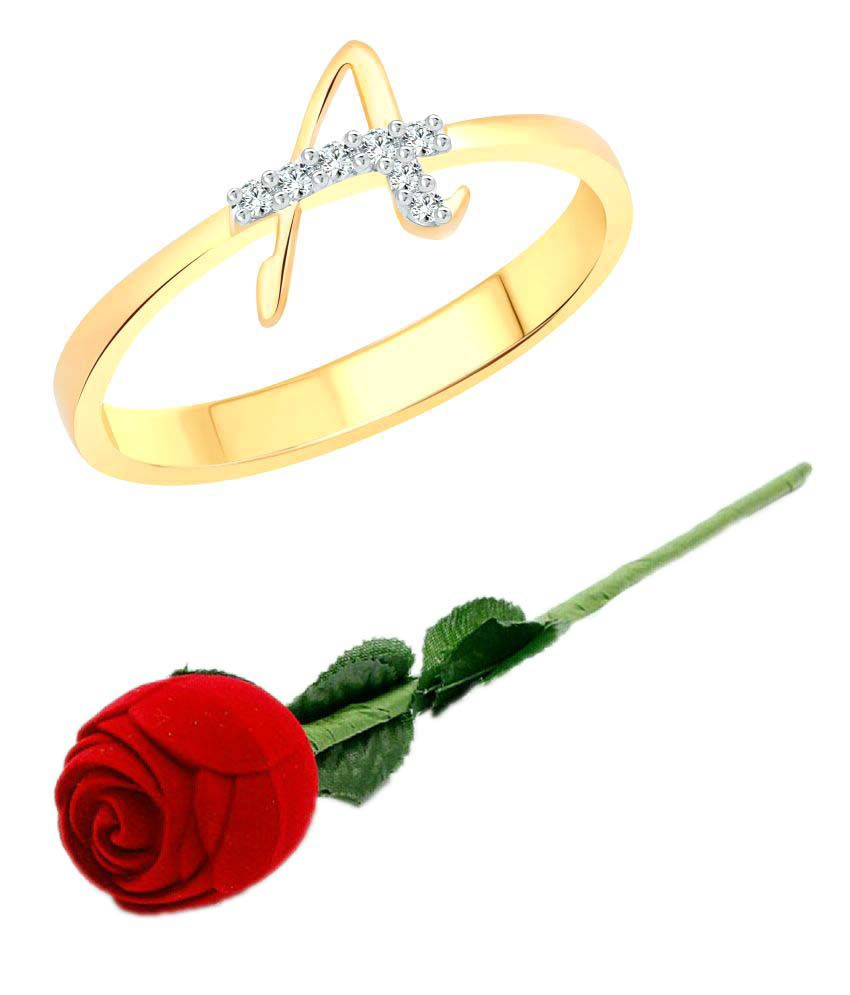 Vighnaharta Initial A Letter With Rose CZ Gold And Rhodium Plated Alloy Finger Ring For Women Girls