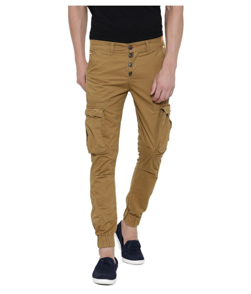 Fifty Two Brown Regular -Fit Flat Joggers